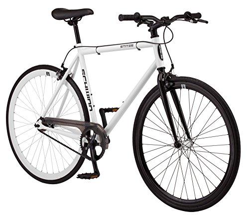 Schwinn Stites Fixie Adult Commuter Road Bike, Single-Speed, 58cm/Large Steel Stand-Over Frame, 700c Wheels, Flip-Flop Hub, White