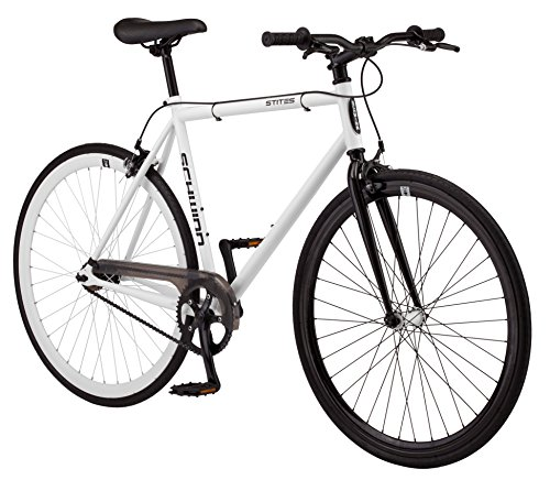 Schwinn Stites Fixie Adult Commuter Road Bike, Single-Speed, 58cm/Large Steel Stand-Over Frame, 700c Wheels, Flip-Flop Hub, White