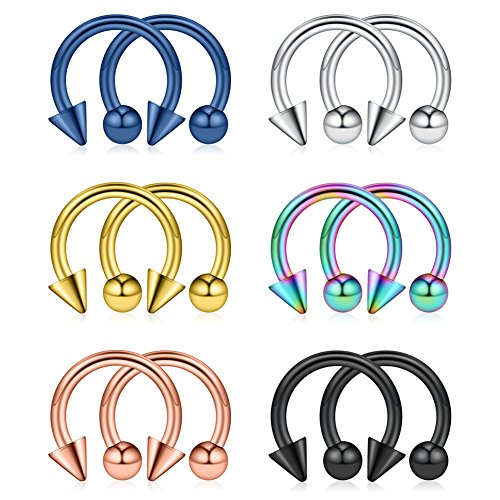 Ruifan 12PCS Assorted Colors Surgical Steel CBR Nose PA Septum Horseshoe Earring Eyebrow Tongue Lip Piercing Ring with 4mm Balls & Spikes 12G 10mm