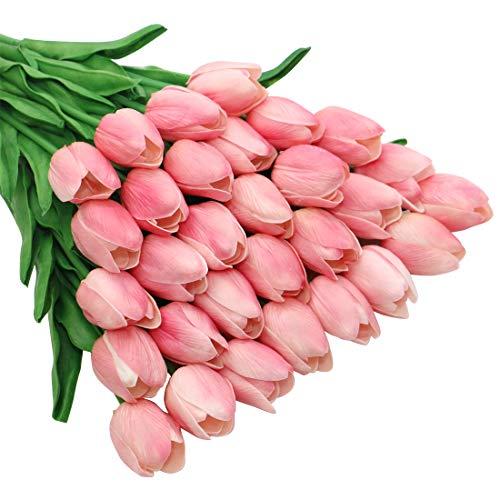 Olrla 30 stück pu real Touch künstliche tulpe-Blumen 13.4 für blumenstrauß-tabellen-mittelstück Blumen Arrangement Startseite Hochzeit dekor (Hellrosa)