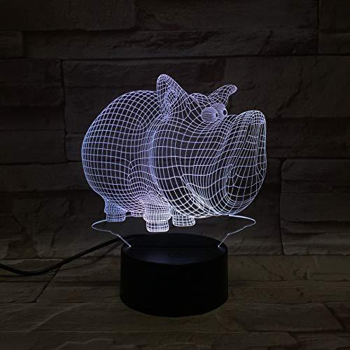 Animal Wild Boar 3D Luz de noche para niños Niños Niñas Regalo Lámpara de ilusión 3D para dormitorio junto a la mesa, 16 colores cambiantes LED Lámpara de mesa de escritorio Lámpara de mesa Regal