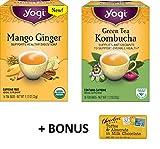Yogi Organic variety tea 16 tea bags (Pack of 2 x 16 tea bags) (Kombucha/ Mango Ginger)
