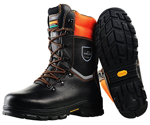 WOODSafe Schnittschutzstiefel Klasse 1 S3 schwarz/orange - Forststiefel kwf-geprüft (42)