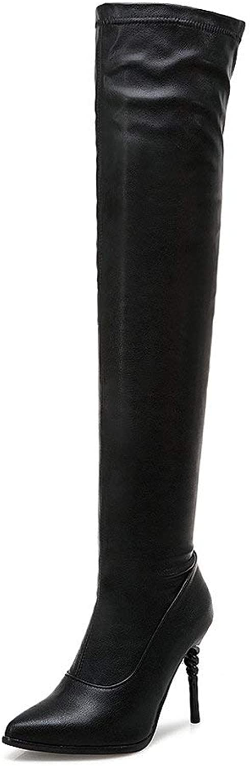 AnMengXinLing Fashion Over The Knee Boot Women Stretchy Leather Pointy Toe Stiletto Pumps shoes Thigh High Snow Booties