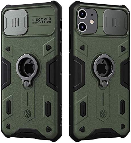 Nillkin CamShield Custodia per iPhone 11, [Protezione Fotocamera] Bumper Protettiva Custodia Anti Graffio Hard PC e TPU Silicone Case Back Cover con Supporto ad Anello per iPhone 11 (Verde)