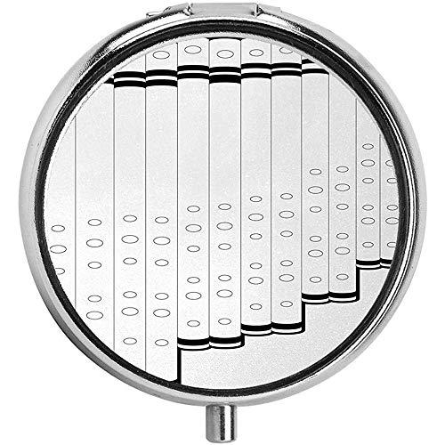 Monochrome Gliederung Panflöte Syrinx Volksmusik Kultur Vertikale Röhren Runde Pillendose Organizer 3 Compartment Medicine Case