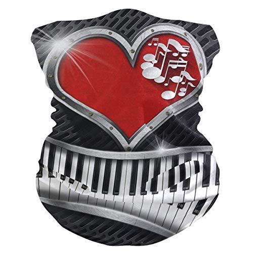 16-In-1 Hoofdbanden, Muzieknoot Piano Rode Liefde Hart Neck Gaiter, Mooie Hoofd Wraps Voor Atletische Skiën Vissen