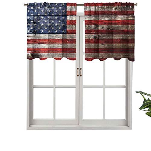 Hiiiman Cortinas opacas cortas, con bolsillo para barra, pared de día de la independencia, juego de 2, 42 x 24 pulgadas, cenefas pequeñas para dormitorio