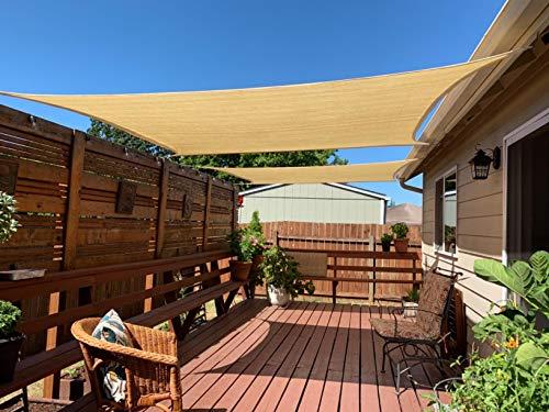 HENG FENG 8'x12' arena rectangular Sun Shade vela UV bloque para patio cubierta y exterior