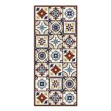 Alfombra Vinílica para Cocina, 140 x 60 cm, Baldosas de Colores, Fondo Beige, Alfombra de Vinilo Antideslizante y Lavable, Multiuso, ALV-038