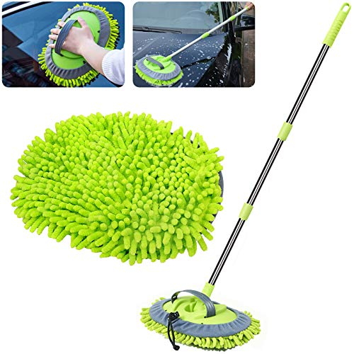 WillingHeart 47.5' Car Wash Brush Mop Cleaning Tool with Long Handle Kit for Washing Detailing Cars Truck, SUV, RV, Trailer, Boat 2 in 1 Chenille Microfiber Sponge Duster Not Hurt Paint Scratch Free