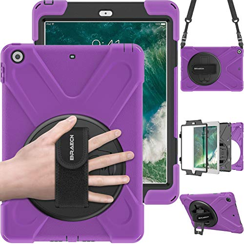 BRAECN iPad 9.7 2018 Case,iPad 9.7 lnch 2017 Rugged Case with Hybrid Heavy Duty Drop Protection and 360 Rotate Built-in Kickstand/Hand Grip Strap/Shoulder Strap for Apple iPad 5th/6th Gen cases-Purple