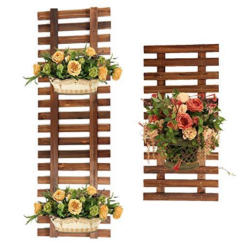MASUNN Pflanzen-Halterung zum Aufhängen, Blumenkorb, Blumentopf, Klettergerüst aus Holz, Los 60cm, 1