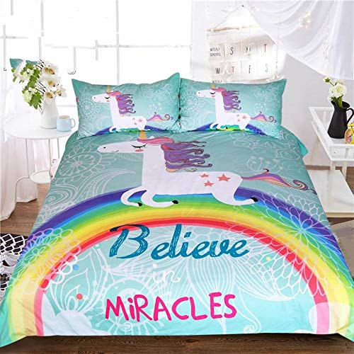 Fadaseo King Duvet Cover Sets 240 X 220 Cm 3D Printing Cartoon Rainbow Animal Unicorn 3 Pieces Bedding Set. Easy Care And Super Soft Cotton Design.With 2 Pillowcases Hypoallergenic