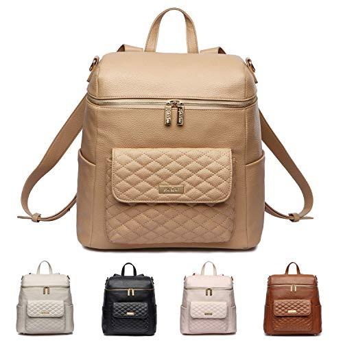 Monaco Diaper Bag Backpack by Luli Bebe - Chic Vegan Leather Diaper Bag Backpack (Latte Brown)