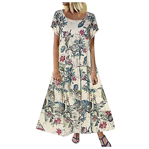 Vestido de verano para mujer de flores, de lino, de manga corta, cuello redondo, para la playa, elegante, camisola, para el tiempo libre, maxivestido, sin mangas, con falda swing 4-purple L