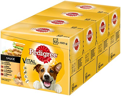 Pedigree Vital Protection Hundenassfutter im Beutel – Hundefutter in Sauce mit Huhn, Rind & Truthahn in Sauce – 48 Beutel (4 x 12 x 100g Großpackung)
