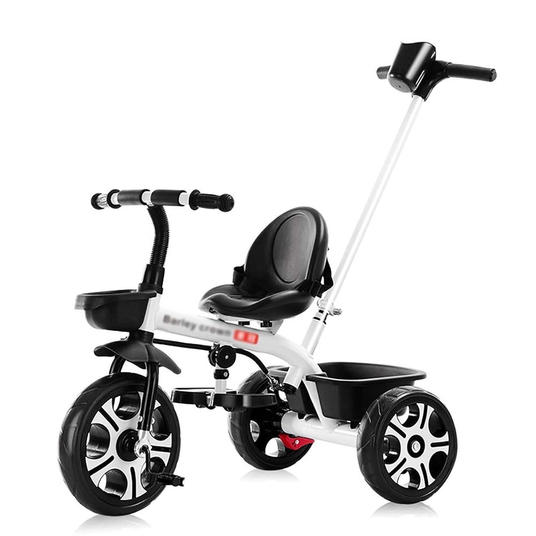 三輪車- 押しハンドルが付いている赤ん坊の三輪車、 子供、幼児のための収納用の箱が付いている1つのベビーカーのトライクバイクに付き3つ、 1?5歳の誕生日プレゼント