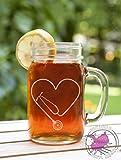 Stethoscope Heart Cutout Etched Glass Mason Jar Mug with Handle Nursing Tough Strength Strong Strength Hope Inspiration Love Doctor Nurse Veterinarian Health Medicine Hospital Med School