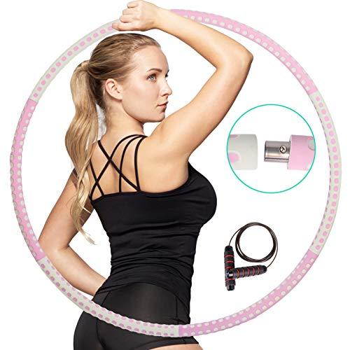 Abnehmbarer Hula Hoop,ehe Sie schnell Gewicht verlieren,Spaß beim Trainieren haben,einfach zu drehen sind,Hula Hoop in Premiumqualität und weiche Polsterung,mit Springseil mit kostenlosem Zubehör