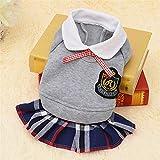 YOUNIU-Clothes Ropa Mascota Perro Juego de la Manera Ropa de la Escuela for la Camisa del suéter de Perro pequeño Vestido del Perro del Perrito del Traje (Color : Grey Dress For Boys, Size : L)