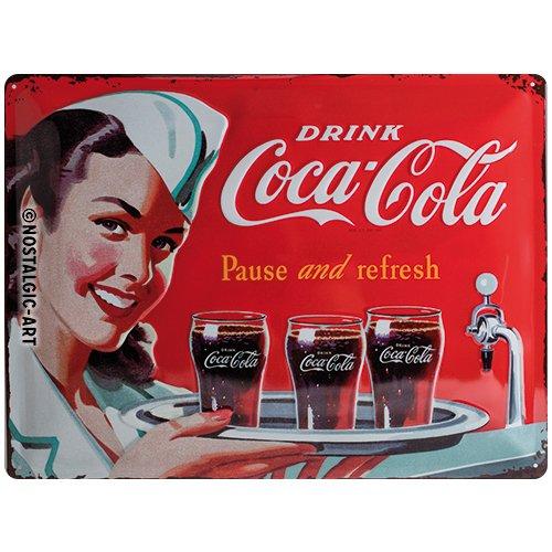 Nostalgic Art Coca-Cola – Waitress – Geschenk-Idee für Coke-Fans Blechschild 30x40 cm, aus Metall, Bunt, 30 x 40 cm