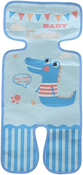 Summer Ice Silk Mat For Stroller Toddler Cool Sleeping Cushion Cartoon Pattern Cart Seat Mat Cover Small Crocodile