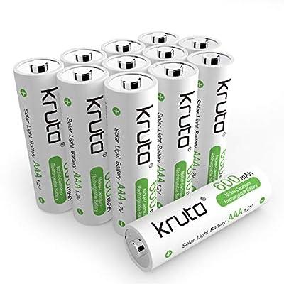 Kruta AAA Rechargeable Batteries 1.2V 600mAh Triple AAA NiCd Battery Nicad Solar AAA Battery for Solar Garden Lights (Pack 12)