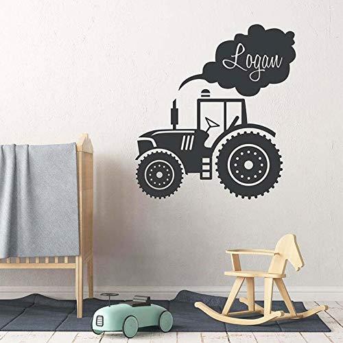 Nombre del niño personalizado camión tractor etiqueta de la pared niño hogar jardín de infantes vinilo simple calcomanía de dibujos animados nombre personalizado mural A4 42x46 cm