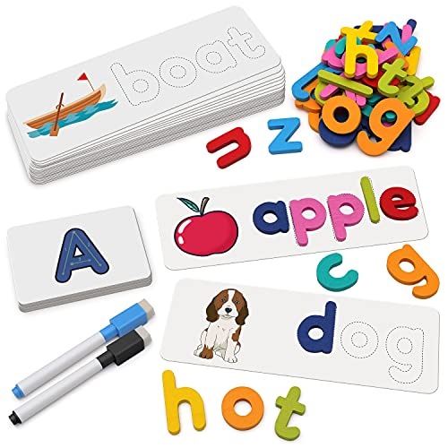 Coogam Reading & Spelling Learning Toy  Wooden Letters Flash Cards Sight Words Matching ABC Alphabet Recognition Game Preschool Educational Tool Set for 3 4 5 Years Old Boys and Girls Kids