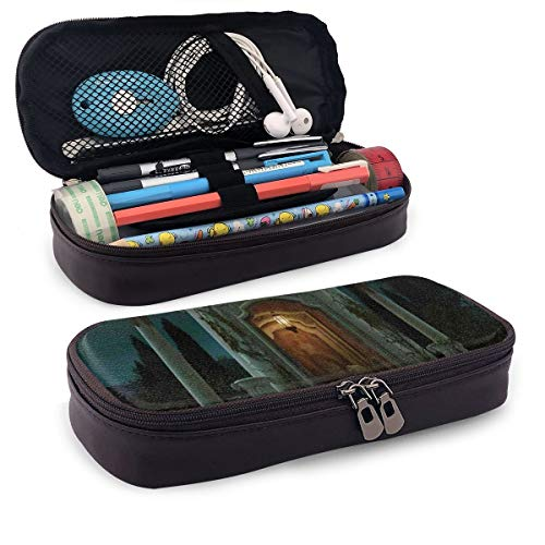 Pencil Case Big Capacity Storage Holder Desk Pen Pencil Marker Stationery Organizer Pencil Pouch with Zipper,Roman Pavilion Lantern Ivy On Pillars Under Dome Medieval Architecture Mystic Theme