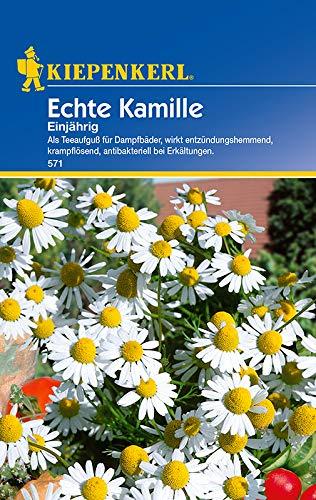 Echte Kamille, Inhalt reicht für ca. 200 Pflanzen, Verwendung: Als Teeaufguß für Dampfbäder, entzündungshemmend, krampflösend, antibakteriell bei Erkältungen