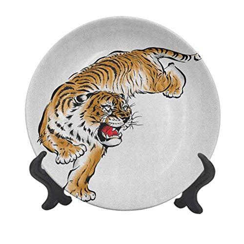 Tiger - Plato decorativo de cerámica de 25,4 cm, diseño japonés felino...