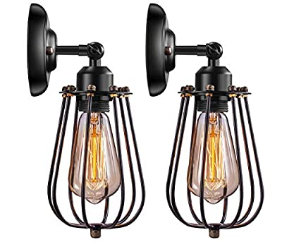 Wire Cage Industrial Wall Sconce Elibbren E26 Base Adjustable Metal Cage Vintage Style Wall Lighting Fixtures for Headboard Bedroom Porch Farmhouse Garage Restaurant 2 Pack by Elibbren