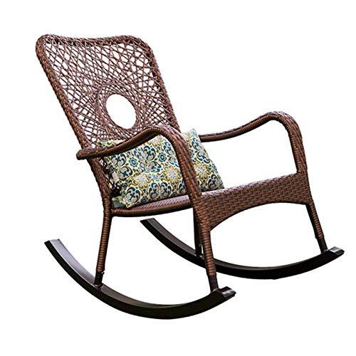 XLSQW Lehnstuhl, Gemütlich Relax Schaukelstuhl PE Rattan Patio-Möbel Gartenstühle Lounge Chair mit Taillen-Kissen, für Indoor, Outdoor, Büro, zu Hause (Brown)