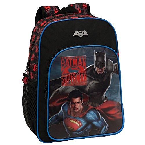 Warner 2582351 Superman-Batman Mochila Escolar, 19.2 litros, Color Gris