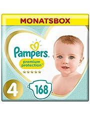 Pampers Premium Protection Windeln, Gr. 4, 9-14kg, Monatsbox (1 x 168 Windeln), Pampers Weichster Komfort Und Schutz