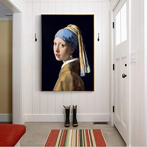 Danjiao Das Mädchen Mit Einem Perlenohrring Berühmte Wandgemälde Reproduktionen Von Jan Klassische Porträtkunst Leinwand Wohnkultur Wohnzimmer 60x90cm