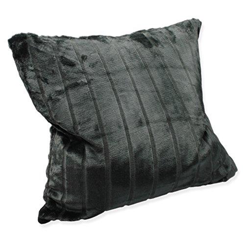 Haus & Deko Weiche Cashmere Touch Kissenhülle Kissenbezug ca. 60x60 cm Dekokissen flauschig in Streifen Nerz Fell Optik Grau Anthrazit