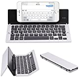 ElementDigital Portable Bluetooth Keyboard Wireless Foldable Keyboard Universal with Phone Stand for New 2017 iPad 9.7, iPad Air, iPad Air 2, iPad Pro 9.7 iOS Android Windows Tablet Phones (Silver)