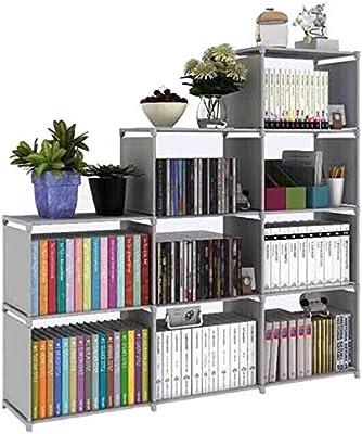 HOSTARME Bookshelf Kids 9 Cube Book Shelf Organizer Bookcase DIY for Bedroom Classroom Office (Grey)