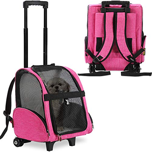 KOPEKS Deluxe Backpack Pet Travel Carrier with Double Wheels - Pink - Large (KPS-1115)