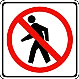 Street & Traffic Sign Wall Decals - No Pedestrian Crossing Symbol Sign - 12 inch Removable Graphic