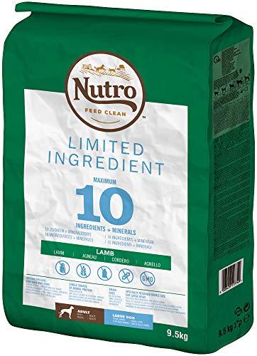 Nutro Hundefutter Trockenfutter Limited Ingredient Adult für große Hunde 1+ Mit Lamm, 1 Beutel (1 x 9.5kg)