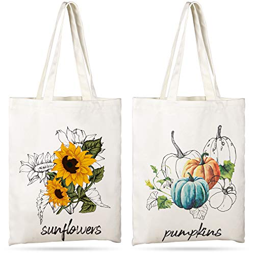 Whaline 2 Pack Fall Canvas Tote Bags Sunflower Tote Bag Pumpkins Canvas Bag Reusable Cotton Handbag Grocery Bags for Shopping Market Travel Beach Autumn Theme Harvest Party Favors, 15.7' x 13.4'