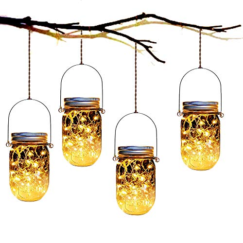 Mason Jar Solar Lanterns Lights,4 Pack 30 Led Lights Starry Star Fairy Firefly Jar Lights,for Outdoor Patio Garden Yard Mason Jar Wedding Table Decor Solar Lantern Lights(Mason Jars/Hangers Included)