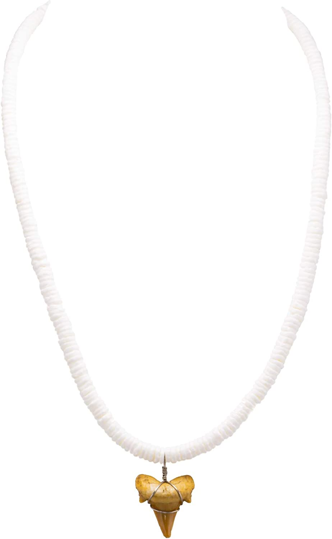BlueRica Shark Tooth Pendant on Puka Shells Necklace