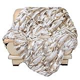 PATTONJIOE Genuine Rabbit Fur Patchwork Blanket Super Soft Warm Fuzzy Lightweight Bed or Couch Blanket Home Fashion Fur Throw Blanket