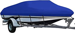 LEADALLWAY Heavy Duty 210D Polyester Cover Marine Grade Trailerable Boat Cover,Fits V-Hull Tri-Hull Runabouts and Bass Boats,Blue…