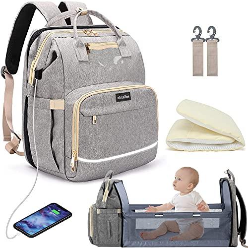 Diaper Bag Backpack, 57L High-Capacity Elegant Travel Bag with Changing Station(Gray)